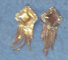 Earrings - Lrg Stone - Silver With Fringe B3422