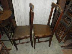 B3027  Vintage/Antique Set of (2) T Back Chairs w/upholstered se