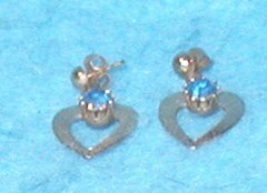 Earrings - Gold with Blue Crystal B3130