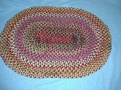 Antique Vintage Rug, Braided Oval B3793