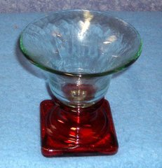 Vase--Large Vase clear top with Red Base B3596