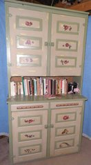 Antique Step Back Cupboard Painted B4668