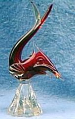 Glass Fish, Red with Clear base B941