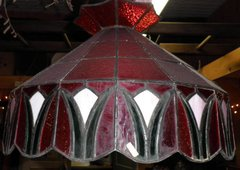 Vintage Antique Ceiling Light - Red Stained Glass B4464
