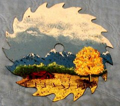 Saw Blade with Hand Painted Barn & Hills B0584