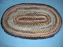 Antique Vintage Rug, Braided Oval B3797