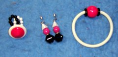Jewelry Set, Necklace, Earrings, Bracelet, Pink And Black B3402