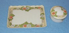 Tray, Ceramic with powder box--Floral Pattern Hand Painted B3066