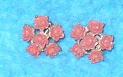 Earrings - Roses with Coral Pink B3115