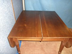 B2557  Antique Solid Walnut Drop Leaf Table