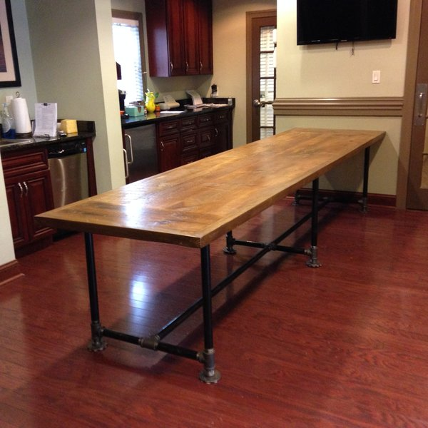 Reclaimed Wood Conference Table And Pipe Base Reclaimed