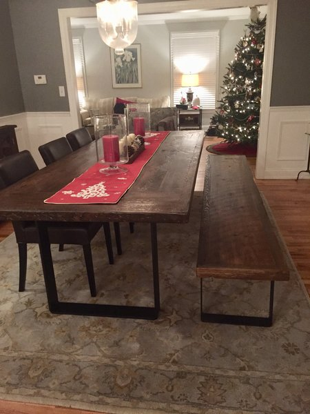Dining room table with steel base | reclaimed wood table tops ...