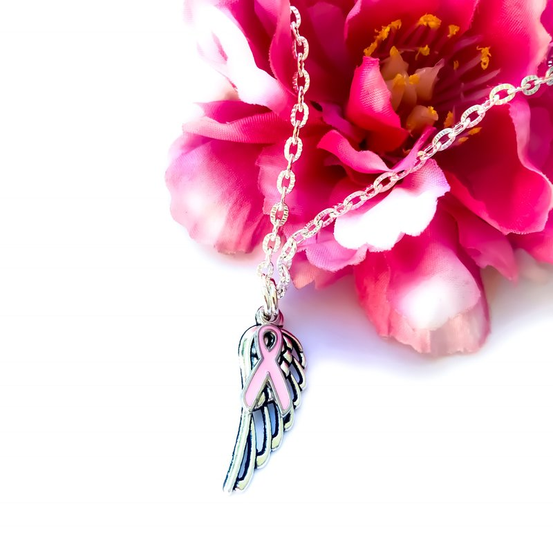 Breast cancer awareness angel wing necklace heavensbook angels makes a beautiful custom sympathy gift for yourself or anyone who is struggling with the loss of a loved one perfect for funerals birthdays solutioingenieria Gallery