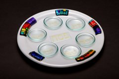 Cohen - White Multi Fused Glass Seder Plate