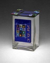 Beames - 12 Tribes Blue Glass Tzedakah Box