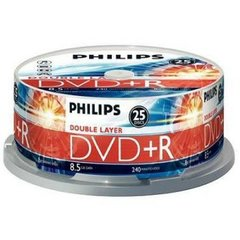 Philips DVD+R 8.5GB 8X Dual Layer Silver Matte Full Logo Singe-Sided Cake Box 25 Packs (DR8S8B25F/17)