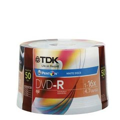 TDK 16X DVD-R 50pcs Spindle Inkjet Printable