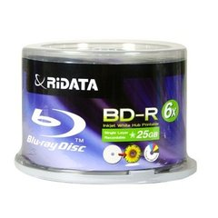 Ridata BD-R 25G 6X Hub Printable 50Packs Spindle(BDR-256-RDIWN-CB50)