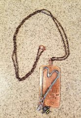 Love and Be Loved Handcrafted Copper w Patina handstamped w Crystal and Honey Bee Charms on long chain