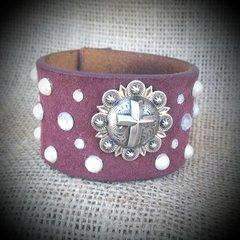 Burgundy Leather Embellished Cuff