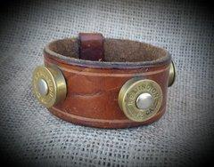Leather and Shotgun Shell Bangle