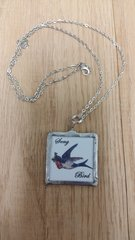 "Memory Glass Pendant ""Song Bird"""