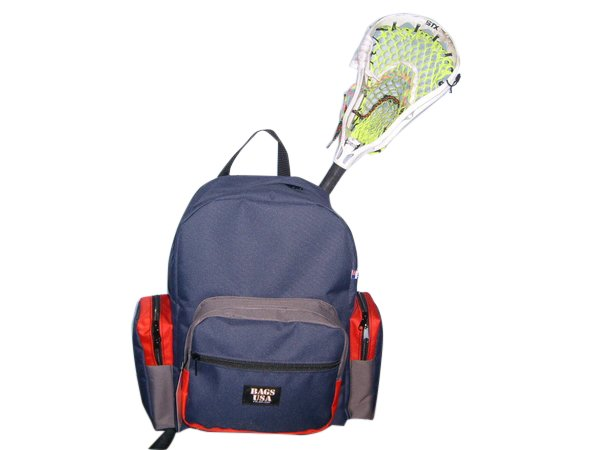 Lacrosse backpack,Lacrosse equipment Backpack with hidden stick sleeve,Made in U.S.A