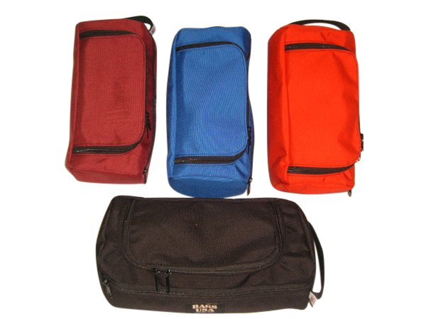 Deluxe toiletry bag with easy excess U opening and front pocket,Made in U.S.A.