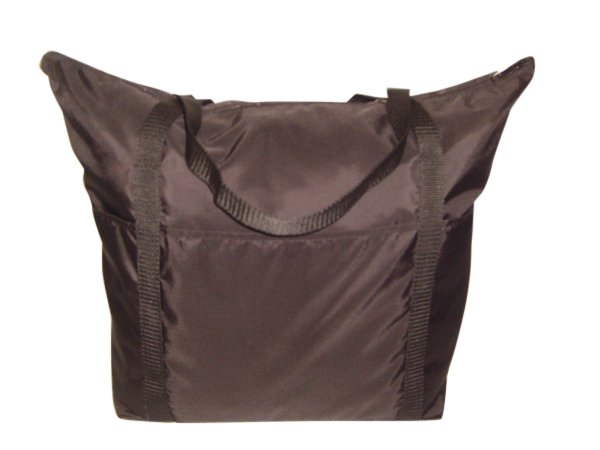 Large ladies tote carry on bag with outside pockets Made in USA.