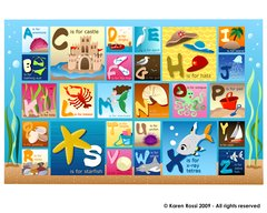 Beach Alphabet Placemat