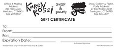 Gift Certificates: 10.00 or more