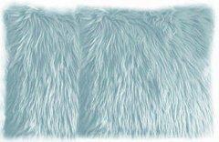 Baby Blue Faux Fur Pillow Set