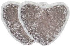 Faux Fur Heart Pillow Set