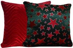 Metallic Red Stars & Red Swirl Pillow Set