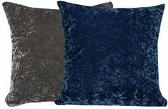 Blue & Grey Crush Velvet Pillow Set