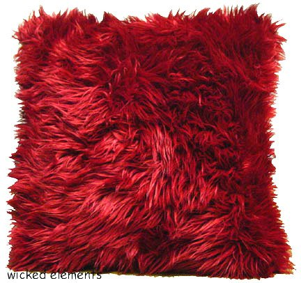 Red Faux Fur Pillow Large Wicked Elements Sofas