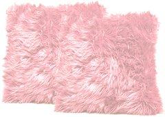 Pink Faux Fur Pillow Set