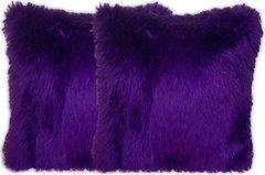 Purple Faux Fur Pillow Set