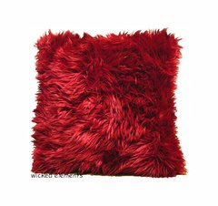 Red Faux Fur Pillow (small)