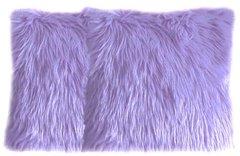Faux Fur Lilac Pillow Set