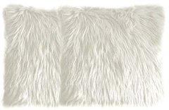 White Faux Fur Pillow Set