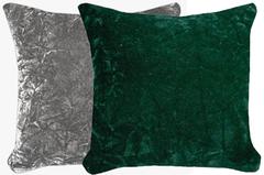 Silver & Emerald Crush Velvet Pillow Set