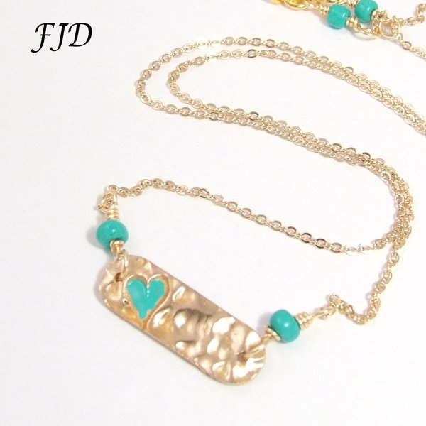 Bronze and Gold Bar Necklace Turquoise heart and beads Felicity