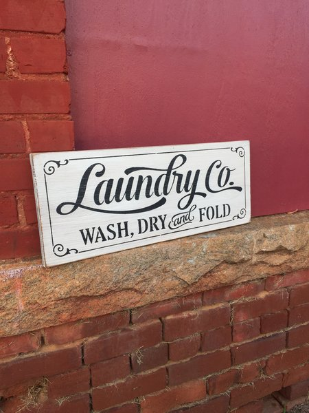 """Laundry And Co Sign Enchanting Laundry Co"""" Rustic Wood Sign  Wash Dry Fold  Oconee Sign Shack Decorating Design"""