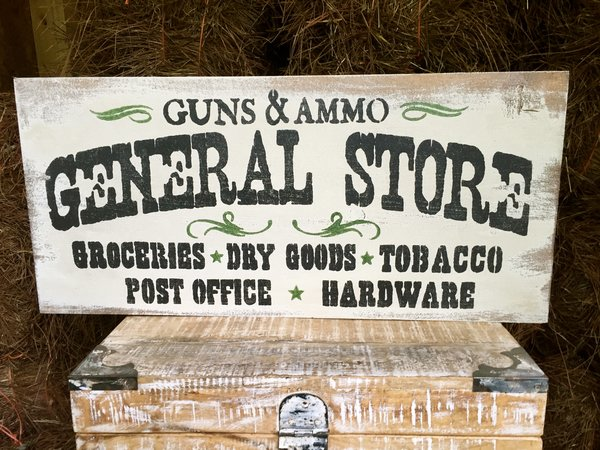 Old Man S Cave General Store Hours : Quot general store gun ammo rustic wood sign