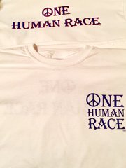One Human Race White T-Shirt-Front and Back Displayed-Short Sleeves