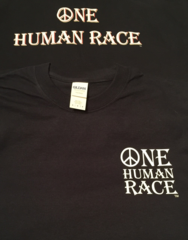 One Human Race Navy T-Shirt-Front and Back Displayed-Short Sleeves