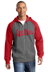 Full Zip Raglan Hoodie Includes Santa Monica LL on the front and the SMLL Logo On the Sleeve