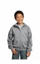 Youth full zip Hooded Sweat Top-with Santa Monica on front and SMLL Logo Left Sleeve
