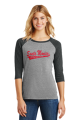 Ladies Raglan with Santa Monica on Front and SMLL Logo On Sleeve
